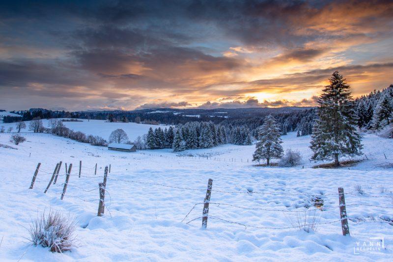 Photographie de paysage prise dans la région des Franches-Montagnes dans le canton du Jura en Suisse