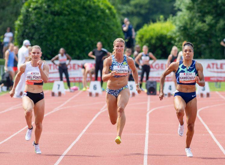 Ajla Del Ponte (SUI), Dafne Schippers (NED), Mujinga Kamboudji (SUI) à ATHLETICAGENEVE lors du 100m en Suisse en 2021